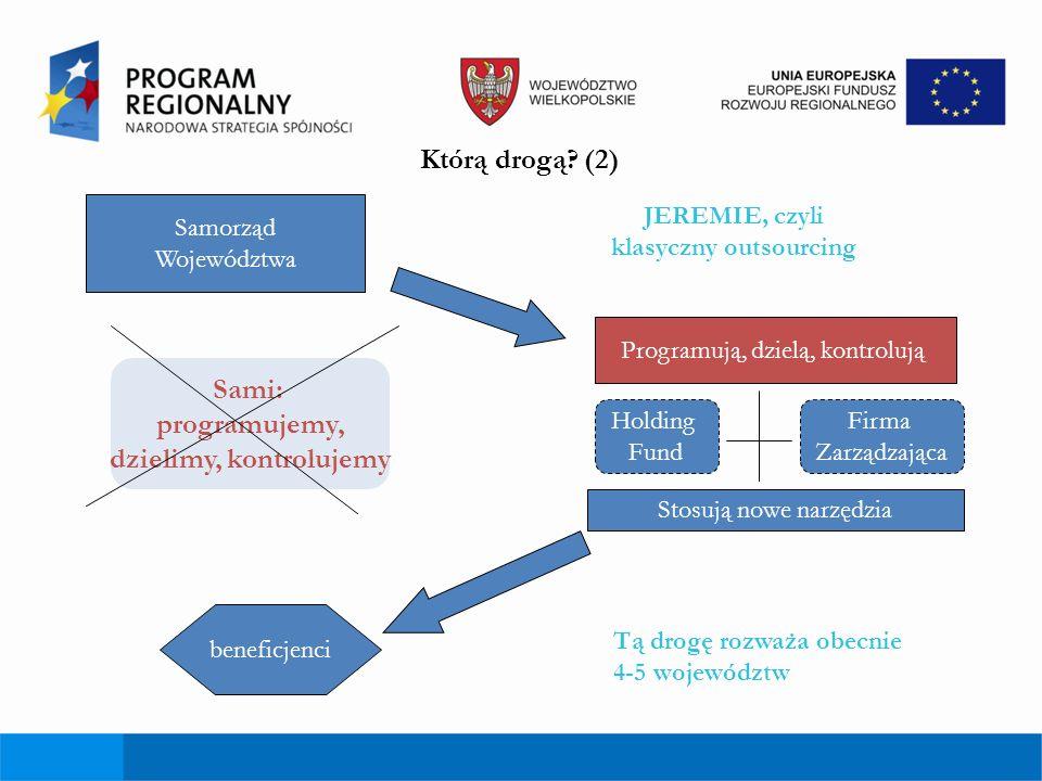 Pośrednie korzyści dla Wielkopolski wdrożenia inicjatywy JERMIENIE Wzmocnienie instytucji otoczenia biznesu - jako instytucji pośredniczących – możliwość otrzymania dość dużych środków na działania powinna się przyczynić do wzmocnienia ich potencjału, a także możliwość wypracowania zysku pożyczonych środków Minimalna bariera wejścia zmusiła władze województwa do przeznaczenia większych środków na to działanie, co w konsekwencji oznacza większe wsparcie dla MSP Wdrożenie inicjatywy JEREMIE doprowadzi także do zwiększenia wachlarza instrumentów finansowania działalności MSP (do tej pory tylko i wyłącznie pożyczki i poręczenia) Elastyczność w zakresie doboru instrumentów finansowych w ramach Holding Fund – możliwość realokacji środków zależnie od zmiennej sytuacji rynkowej