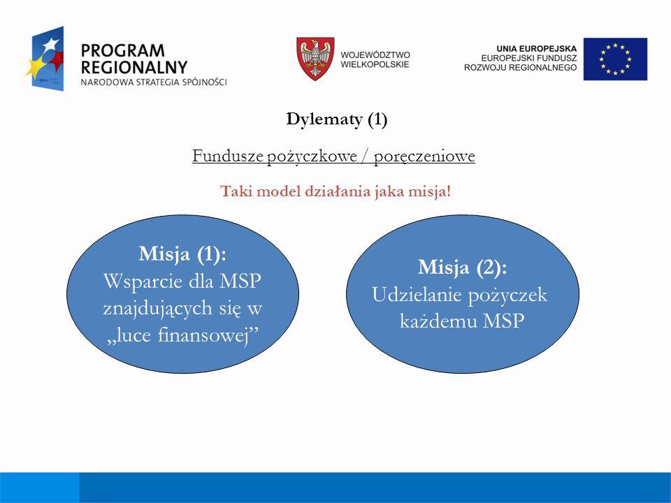 Dylematy (2) Misja (1): Wsparcie dla MSP znajdujących się w luce finansowej Misja (2): Udzielanie pożyczek każdemu MSP Mniejsza populacja docelowa większa szkodowość i koszty Konkurencja z bankami