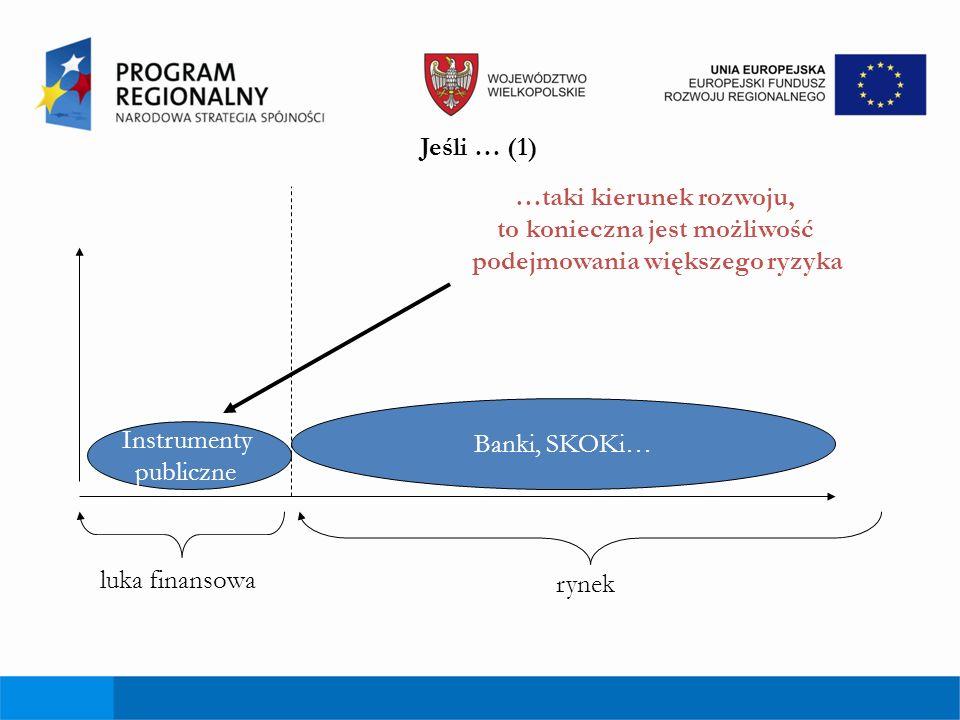 Jeśli … (1) …taki kierunek rozwoju, to konieczna jest możliwość podejmowania większego ryzyka luka finansowa rynek Instrumenty publiczne Banki, SKOKi…