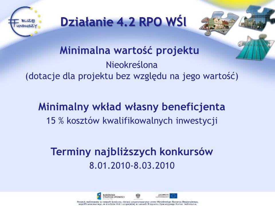 Minimalna wartość projektu Nieokreślona (dotacje dla projektu bez względu na jego wartość) Minimalny wkład własny beneficjenta 15 % kosztów kwalifikowalnych inwestycji Terminy najbliższych konkursów 8.01.2010-8.03.2010 Działanie 4.2 RPO WŚl