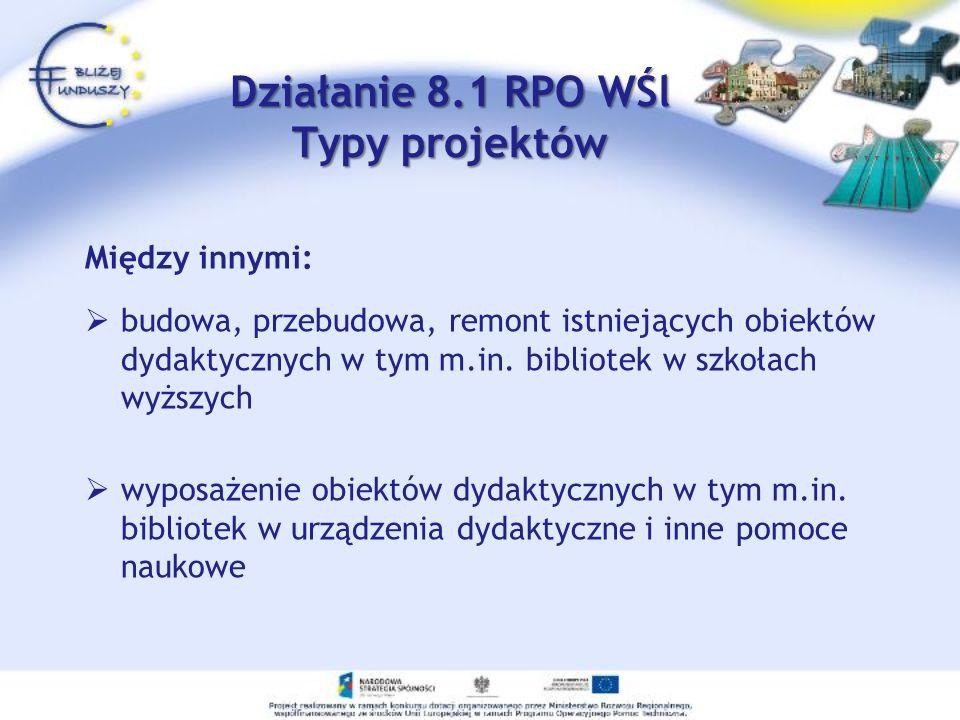 Działanie 8.1 RPO WŚl Typy projektów Działanie 8.1 RPO WŚl Typy projektów Między innymi: budowa, przebudowa, remont istniejących obiektów dydaktycznych w tym m.in.