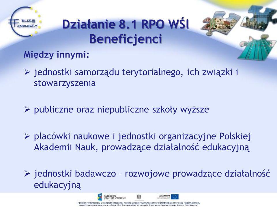 Między innymi: jednostki samorządu terytorialnego, ich związki i stowarzyszenia publiczne oraz niepubliczne szkoły wyższe placówki naukowe i jednostki organizacyjne Polskiej Akademii Nauk, prowadzące działalność edukacyjną jednostki badawczo – rozwojowe prowadzące działalność edukacyjną Działanie 8.1 RPO WŚl Beneficjenci Działanie 8.1 RPO WŚl Beneficjenci