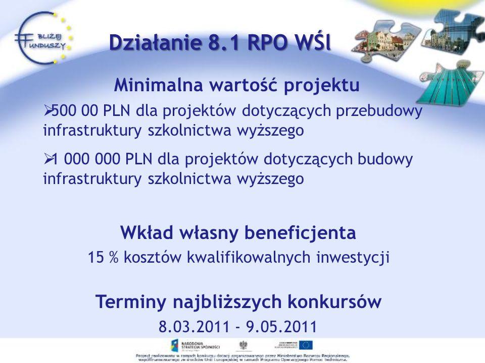 Minimalna wartość projektu 500 00 PLN dla projektów dotyczących przebudowy infrastruktury szkolnictwa wyższego 1 000 000 PLN dla projektów dotyczących budowy infrastruktury szkolnictwa wyższego Wkład własny beneficjenta 15 % kosztów kwalifikowalnych inwestycji Terminy najbliższych konkursów 8.03.2011 - 9.05.2011 Działanie 8.1 RPO WŚl Działanie 8.1 RPO WŚl