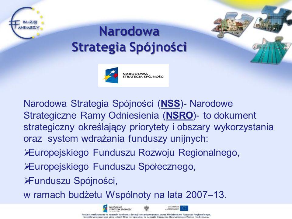 Narodowa Strategia Spójności Narodowa Strategia Spójności (NSS)- Narodowe Strategiczne Ramy Odniesienia (NSRO)- to dokument strategiczny określający priorytety i obszary wykorzystania oraz system wdrażania funduszy unijnych: Europejskiego Funduszu Rozwoju Regionalnego, Europejskiego Funduszu Społecznego, Funduszu Spójności, w ramach budżetu Wspólnoty na lata 2007–13.