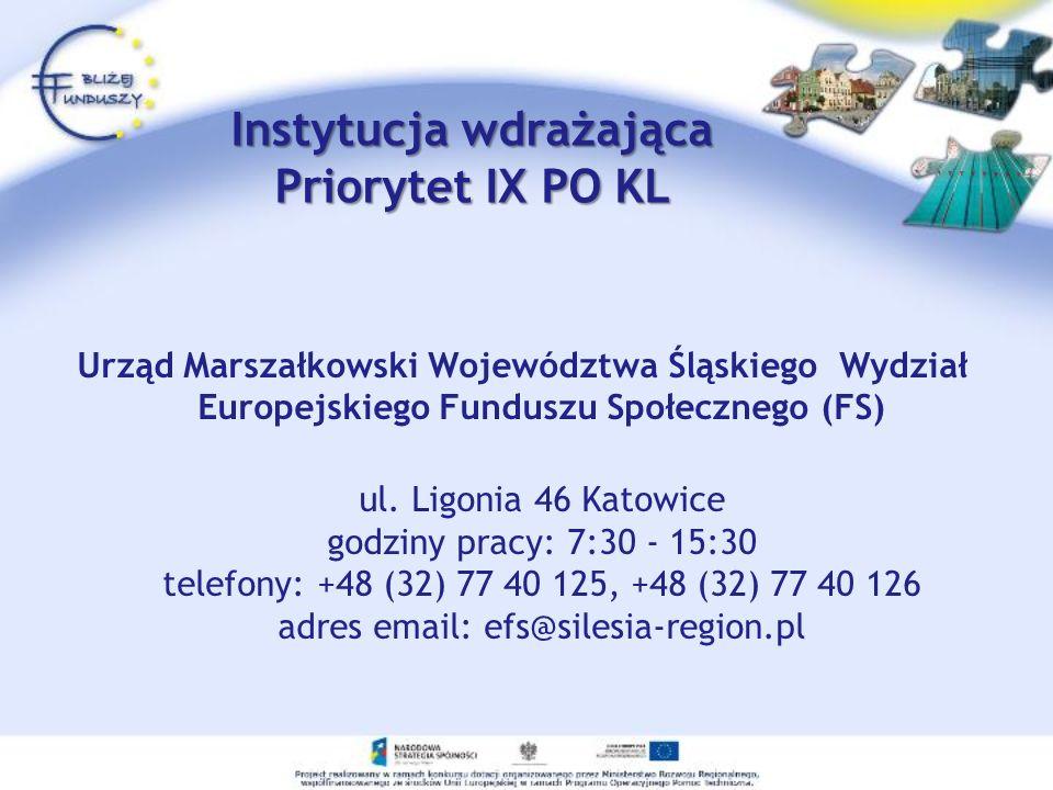 Instytucja wdrażająca Priorytet IX PO KL Urząd Marszałkowski Województwa Śląskiego Wydział Europejskiego Funduszu Społecznego (FS) ul.