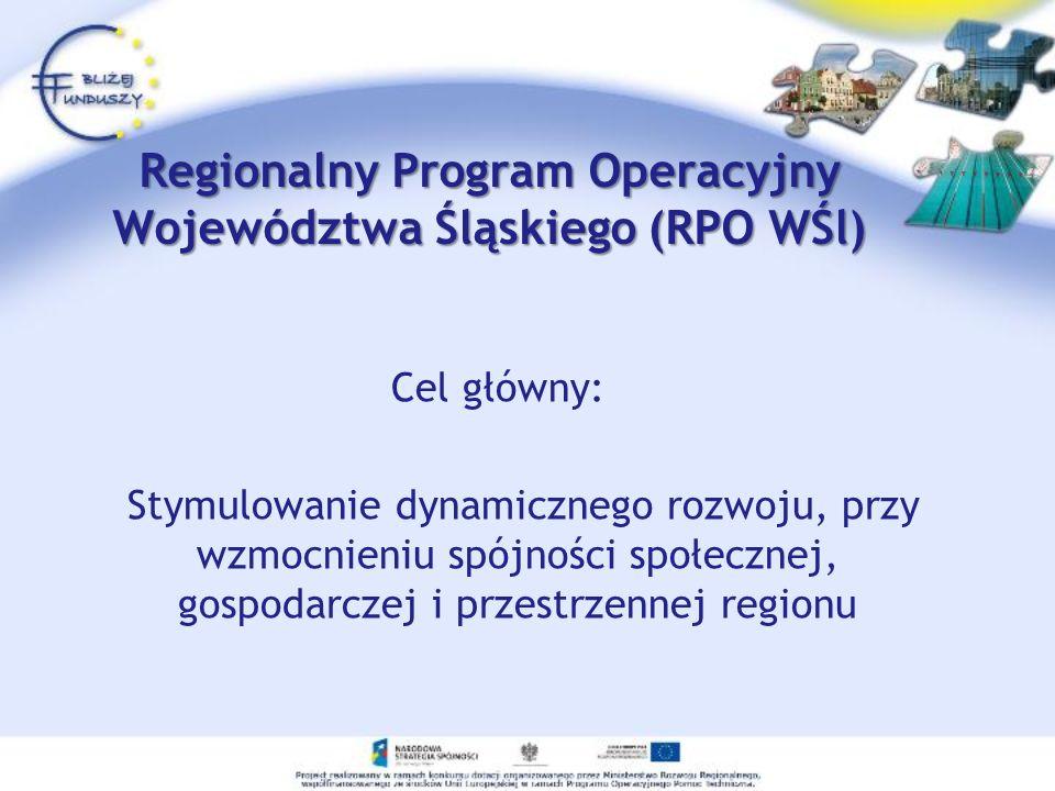 Regionalny Program Operacyjny Województwa Śląskiego (RPO WŚl) Cel główny: Stymulowanie dynamicznego rozwoju, przy wzmocnieniu spójności społecznej, gospodarczej i przestrzennej regionu