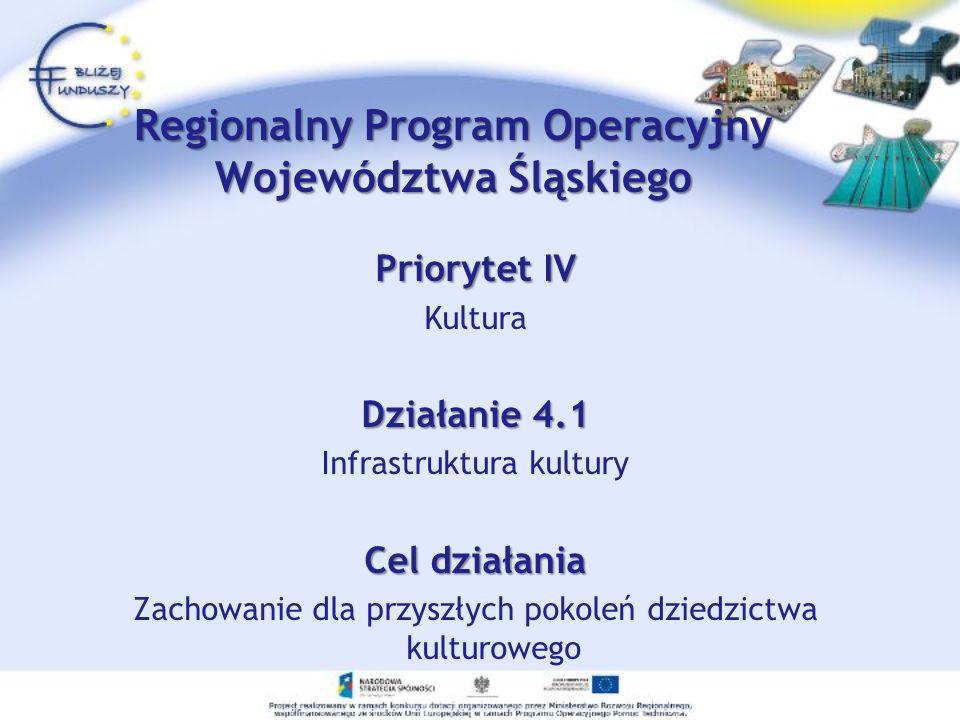 Priorytet IV Kultura Działanie 4.1 Infrastruktura kultury Cel działania Zachowanie dla przyszłych pokoleń dziedzictwa kulturowego Regionalny Program Operacyjny Województwa Śląskiego