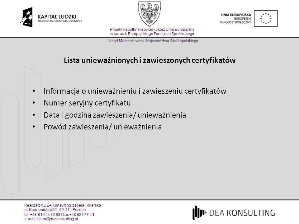 Lista unieważnionych i zawieszonych certyfikatów Informacja o unieważnieniu i zawieszeniu certyfikatów Numer seryjny certyfikatu Data i godzina zawies