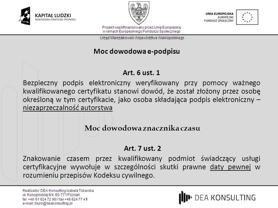 Moc dowodowa e-podpisu Art. 6 ust. 1 Bezpieczny podpis elektroniczny weryfikowany przy pomocy ważnego kwalifikowanego certyfikatu stanowi dowód, że zo