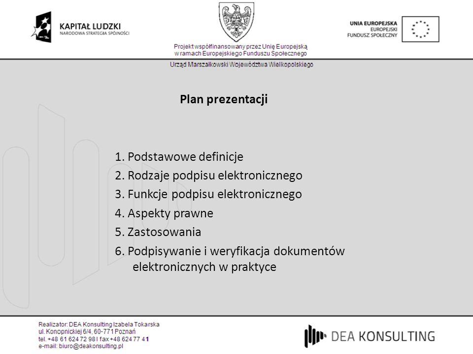 Plan prezentacji 1. Podstawowe definicje 2. Rodzaje podpisu elektronicznego 3. Funkcje podpisu elektronicznego 4. Aspekty prawne 5. Zastosowania 6. Po