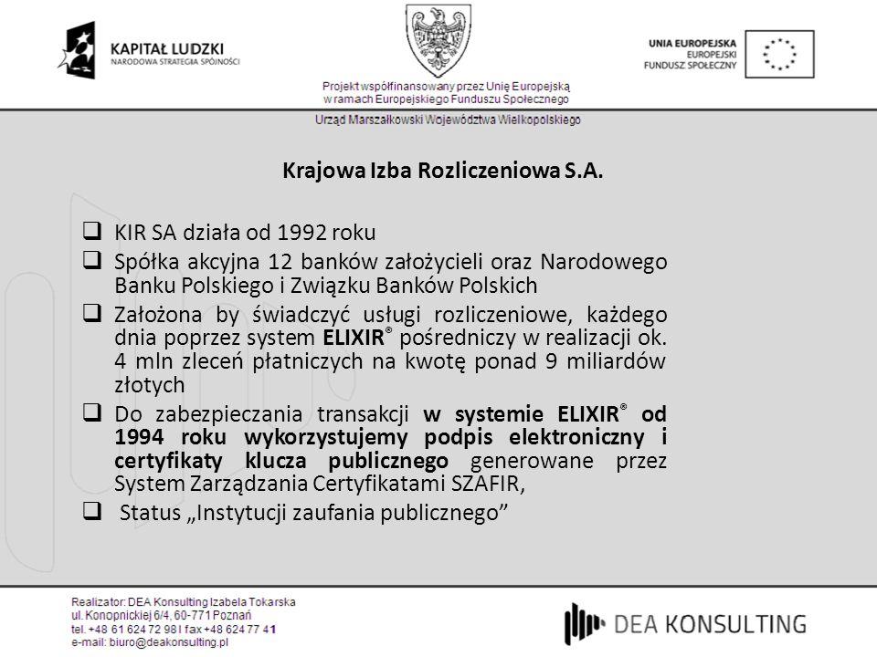 Zastosowania podpisu elektronicznego Deklaracje ZUS (obowiązkowo od 21 lipca 2008r) e-Deklaracje do Urzędu Skarbowego Podania i wnioski administracyjne (od 1 maja 2008) Faktury VAT (e-faktury) Oferty i umowy, w tym zawierane na odległość Aukcje elektroniczne Krajowy Rejestr Sądowy - KRS Dane do Generalnego Inspektora Informacji Finansowej (GIIF) Dokumenty wewnętrzne, np.