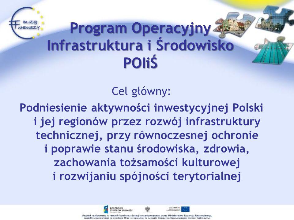 Program Operacyjny Infrastruktura i Środowisko POIiŚ Cel główny: Podniesienie aktywności inwestycyjnej Polski i jej regionów przez rozwój infrastruktu