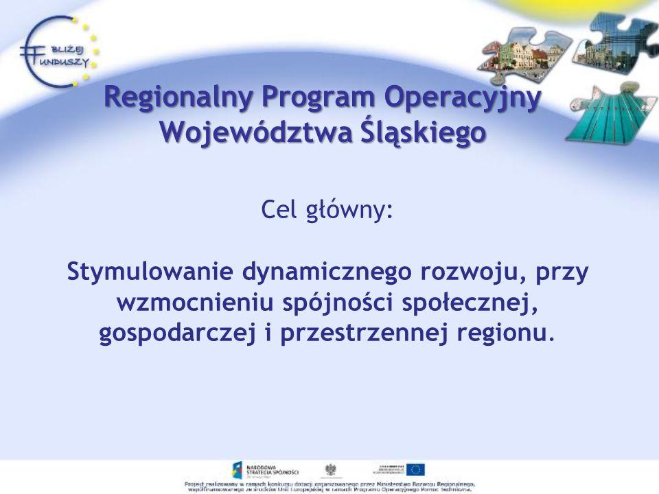 Regionalny Program Operacyjny Województwa Śląskiego Cel główny: Stymulowanie dynamicznego rozwoju, przy wzmocnieniu spójności społecznej, gospodarczej