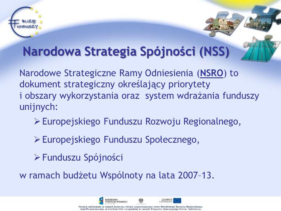 Narodowa Strategia Spójności Cele NSRO będą realizowane za pomocą: Programów Operacyjnych zarządzanych przez Ministerstwo Rozwoju Regionalnego, Regionalnych Programów Operacyjnych, zarządzanych przez Zarządy poszczególnych Województw, projektów współfinansowanych ze strony instrumentów strukturalnych.