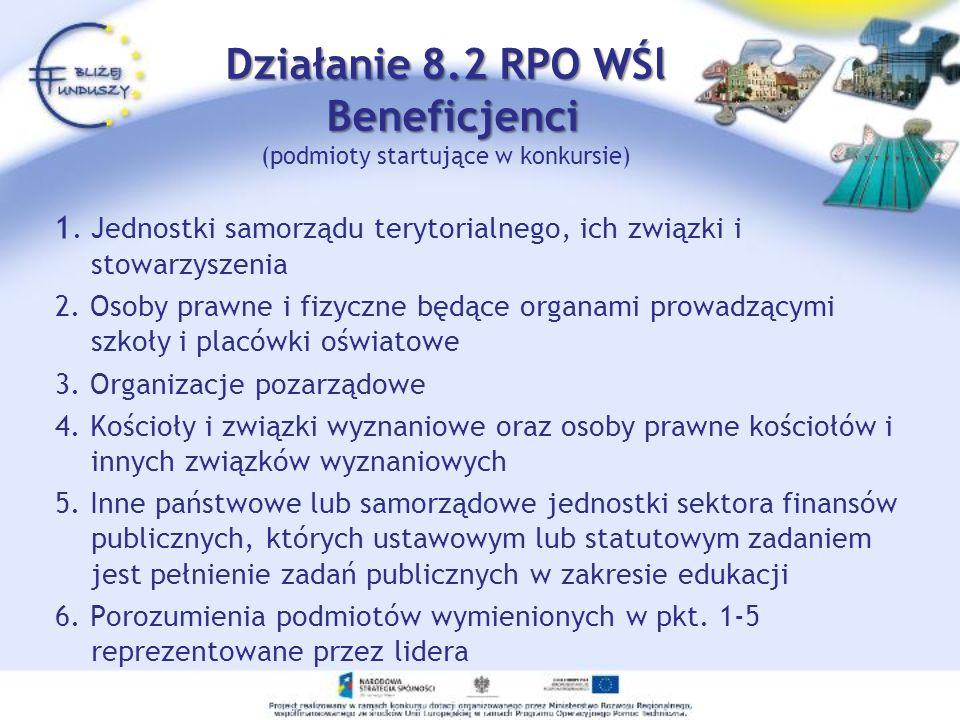 Działanie 8.2 RPO WŚl Beneficjenci Działanie 8.2 RPO WŚl Beneficjenci (podmioty startujące w konkursie) 1. Jednostki samorządu terytorialnego, ich zwi