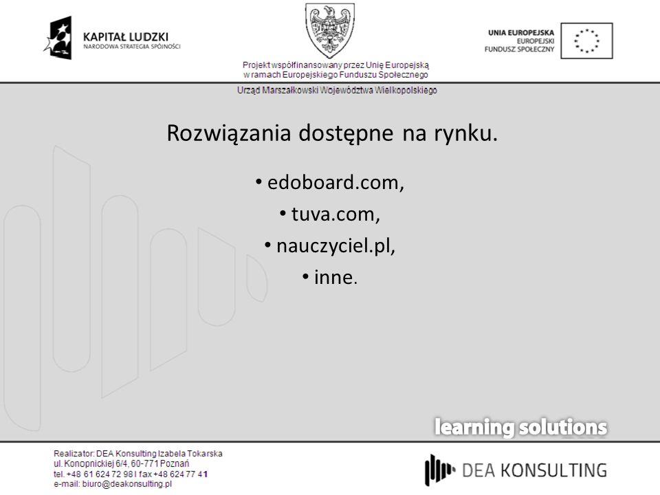 Rozwiązania dostępne na rynku. edoboard.com, tuva.com, nauczyciel.pl, inne.