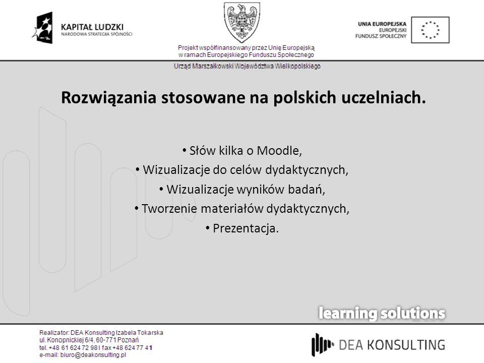 Rozwiązania stosowane na polskich uczelniach. Słów kilka o Moodle, Wizualizacje do celów dydaktycznych, Wizualizacje wyników badań, Tworzenie materiał