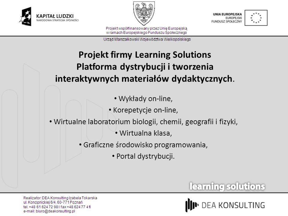 Projekt firmy Learning Solutions Platforma dystrybucji i tworzenia interaktywnych materiałów dydaktycznych. Wykłady on-line, Korepetycje on-line, Wirt