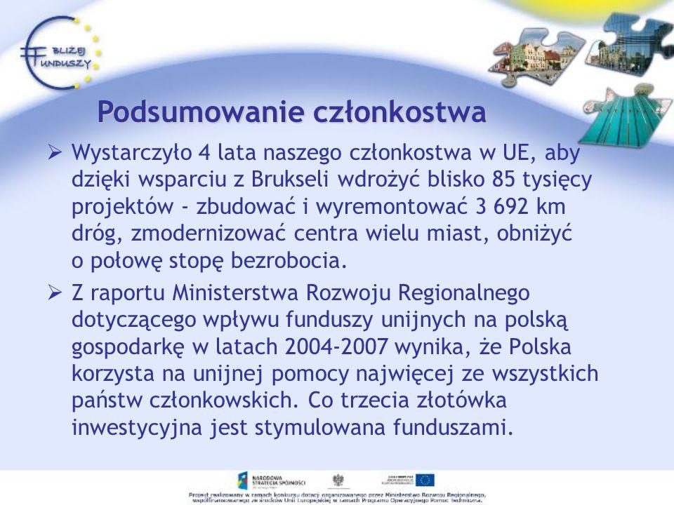 Wystarczyło 4 lata naszego członkostwa w UE, aby dzięki wsparciu z Brukseli wdrożyć blisko 85 tysięcy projektów - zbudować i wyremontować 3 692 km dró
