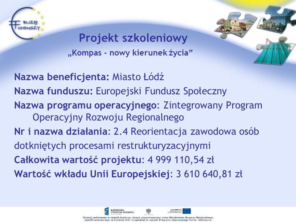 Projekt szkoleniowy Kompas - nowy kierunek życia Nazwa beneficjenta: Miasto Łódź Nazwa funduszu: Europejski Fundusz Społeczny Nazwa programu operacyjn