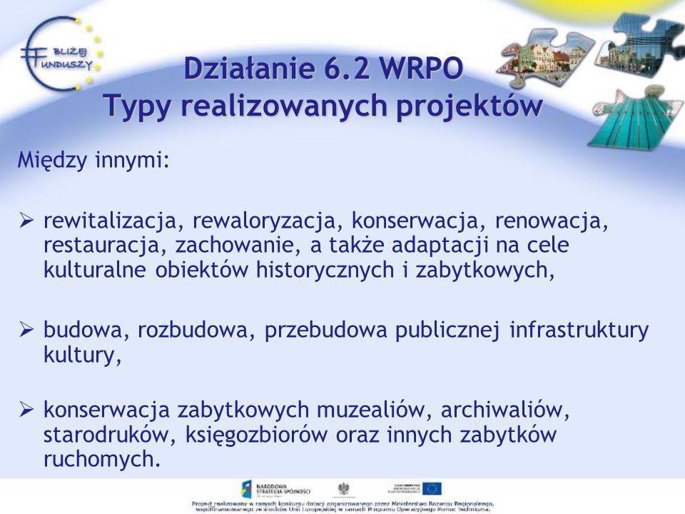 Działanie 6.2 WRPO Typy realizowanych projektów Między innymi: rewitalizacja, rewaloryzacja, konserwacja, renowacja, restauracja, zachowanie, a także