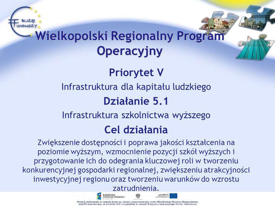 Priorytet V Infrastruktura dla kapitału ludzkiego Działanie 5.1 Infrastruktura szkolnictwa wyższego Cel działania Zwiększenie dostępności i poprawa ja