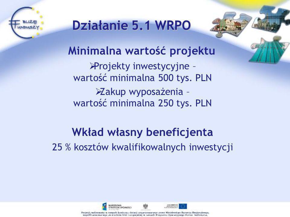 Minimalna wartość projektu Projekty inwestycyjne – wartość minimalna 500 tys. PLN Zakup wyposażenia – wartość minimalna 250 tys. PLN Wkład własny bene