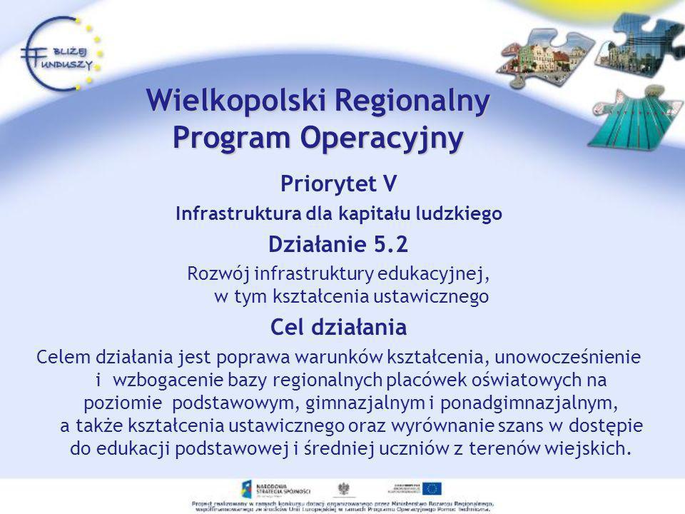 Priorytet V Infrastruktura dla kapitału ludzkiego Działanie 5.2 Rozwój infrastruktury edukacyjnej, w tym kształcenia ustawicznego Cel działania Celem