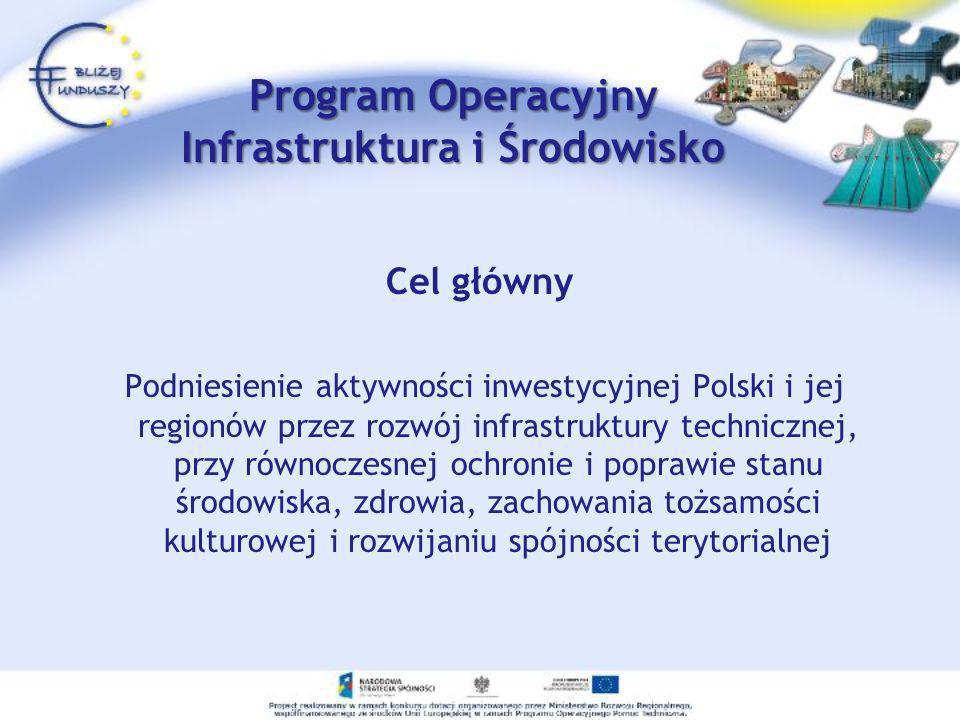 Program Operacyjny Infrastruktura i Środowisko Cel główny Podniesienie aktywności inwestycyjnej Polski i jej regionów przez rozwój infrastruktury tech