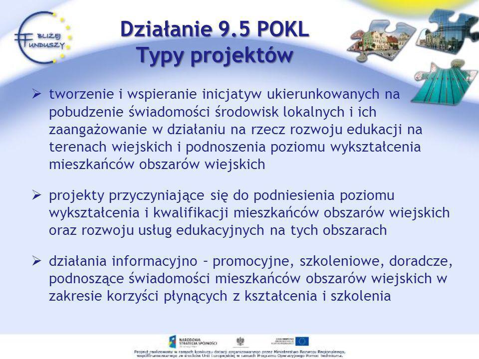 Działanie 9.5 POKL Typy projektów tworzenie i wspieranie inicjatyw ukierunkowanych na pobudzenie świadomości środowisk lokalnych i ich zaangażowanie w