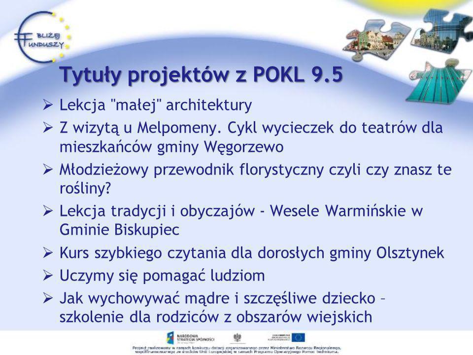 Tytuły projektów z POKL 9.5 Lekcja
