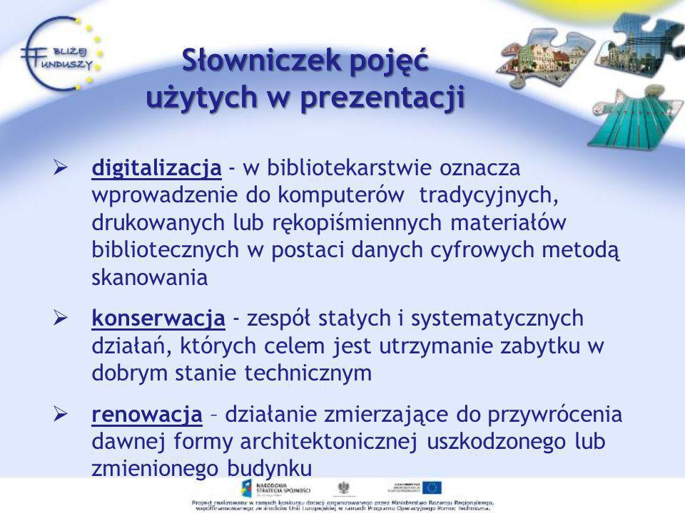 digitalizacja - w bibliotekarstwie oznacza wprowadzenie do komputerów tradycyjnych, drukowanych lub rękopiśmiennych materiałów bibliotecznych w postac