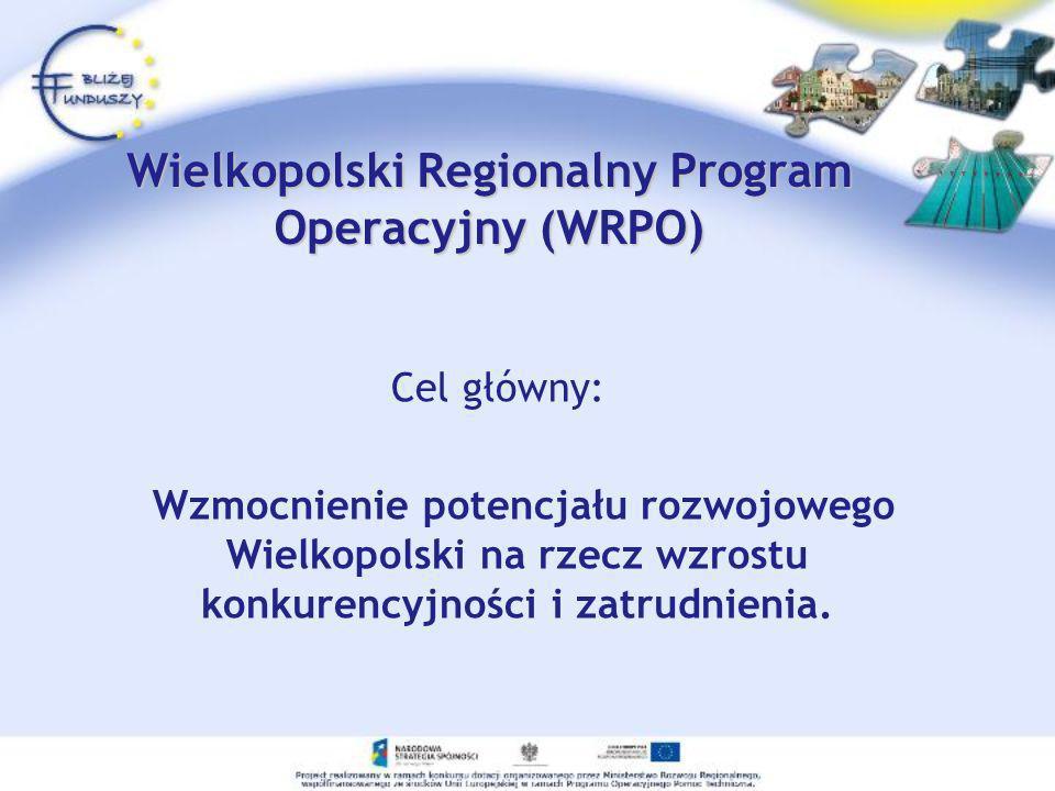 Wielkopolski Regionalny Program Operacyjny (WRPO) Cel główny: Wzmocnienie potencjału rozwojowego Wielkopolski na rzecz wzrostu konkurencyjności i zatr