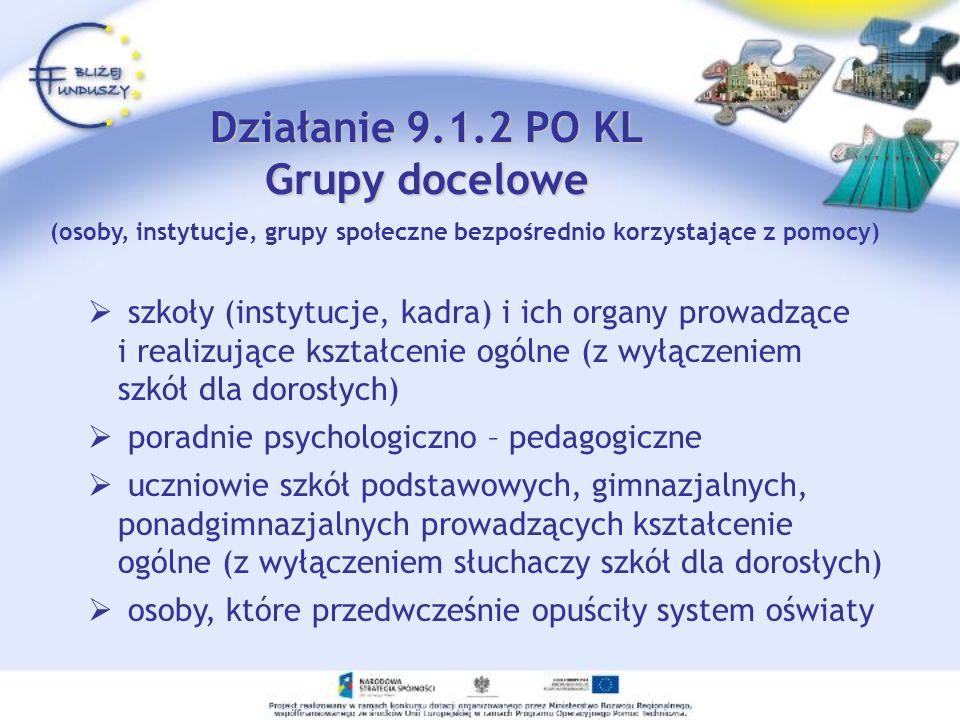 Działanie 9.1.2 PO KL Grupy docelowe szkoły (instytucje, kadra) i ich organy prowadzące i realizujące kształcenie ogólne (z wyłączeniem szkół dla doro