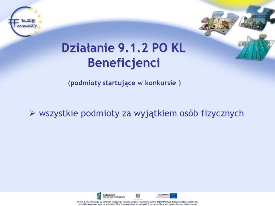 Działanie 9.1.2 PO KL Beneficjenci wszystkie podmioty za wyjątkiem osób fizycznych (podmioty startujące w konkursie )
