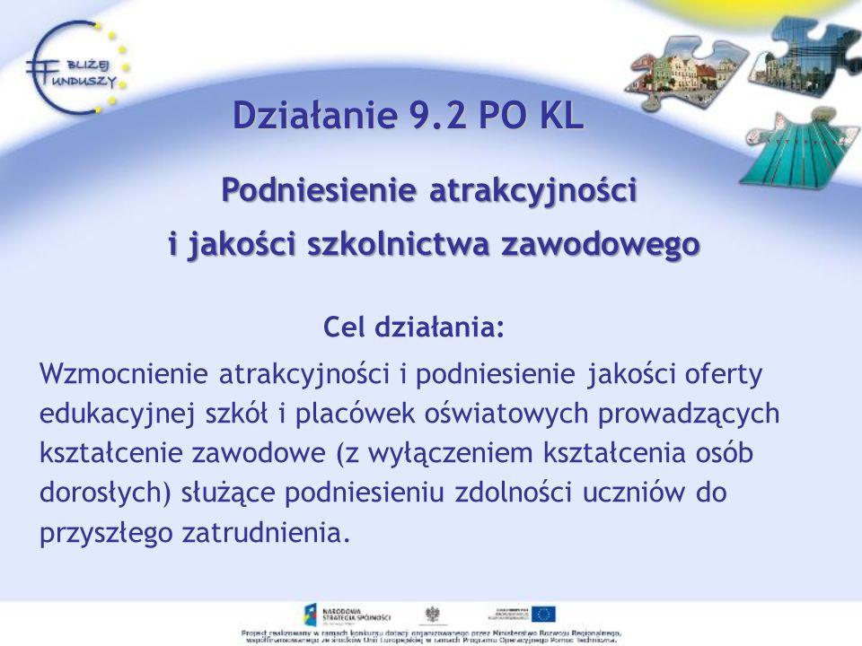 Działanie 9.2 PO KL Cel działania: Wzmocnienie atrakcyjności i podniesienie jakości oferty edukacyjnej szkół i placówek oświatowych prowadzących kszta