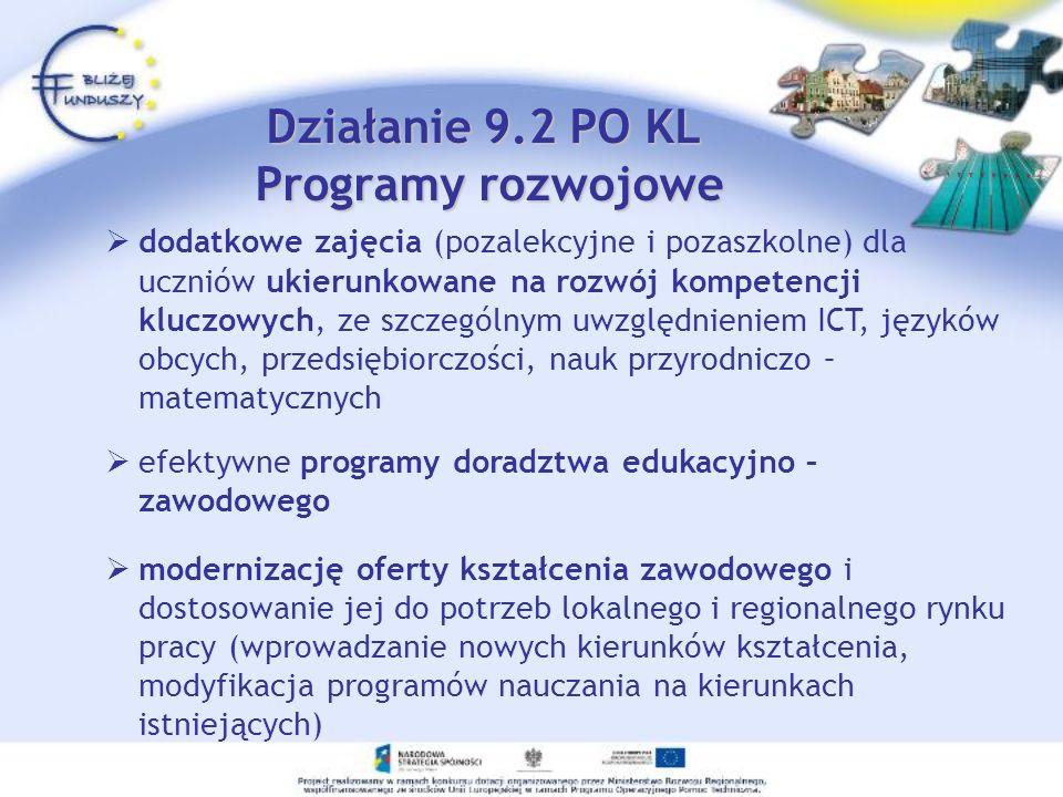 dodatkowe zajęcia (pozalekcyjne i pozaszkolne) dla uczniów ukierunkowane na rozwój kompetencji kluczowych, ze szczególnym uwzględnieniem ICT, języków obcych, przedsiębiorczości, nauk przyrodniczo – matematycznych efektywne programy doradztwa edukacyjno – zawodowego modernizację oferty kształcenia zawodowego i dostosowanie jej do potrzeb lokalnego i regionalnego rynku pracy (wprowadzanie nowych kierunków kształcenia, modyfikacja programów nauczania na kierunkach istniejących) Działanie 9.2 PO KL Programy rozwojowe