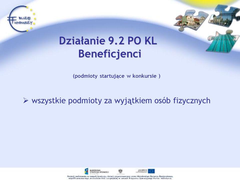 (podmioty startujące w konkursie ) wszystkie podmioty za wyjątkiem osób fizycznych Działanie 9.2 PO KL Beneficjenci