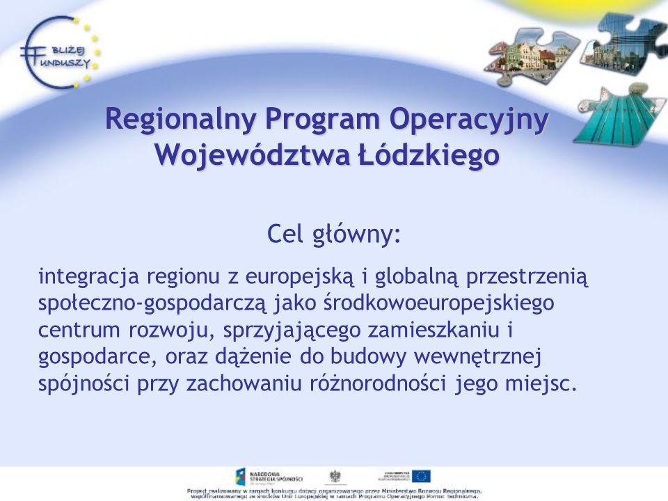 Regionalny Program Operacyjny Województwa Łódzkiego Cel główny: integracja regionu z europejską i globalną przestrzenią społeczno-gospodarczą jako środkowoeuropejskiego centrum rozwoju, sprzyjającego zamieszkaniu i gospodarce, oraz dążenie do budowy wewnętrznej spójności przy zachowaniu różnorodności jego miejsc.