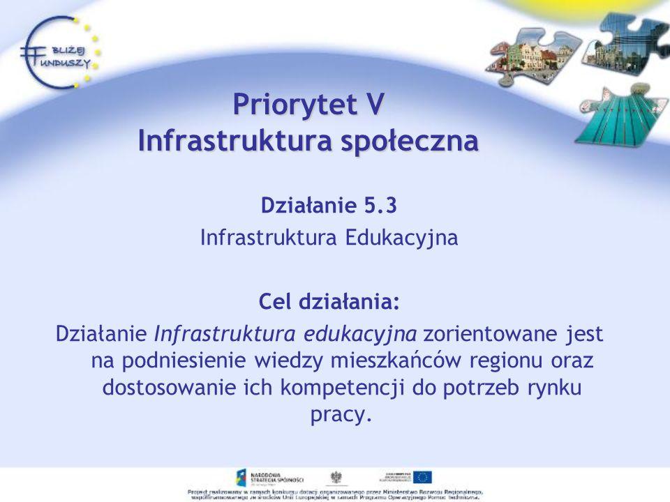 Priorytet V Infrastruktura społeczna Działanie 5.3 Infrastruktura Edukacyjna Cel działania: Działanie Infrastruktura edukacyjna zorientowane jest na podniesienie wiedzy mieszkańców regionu oraz dostosowanie ich kompetencji do potrzeb rynku pracy.