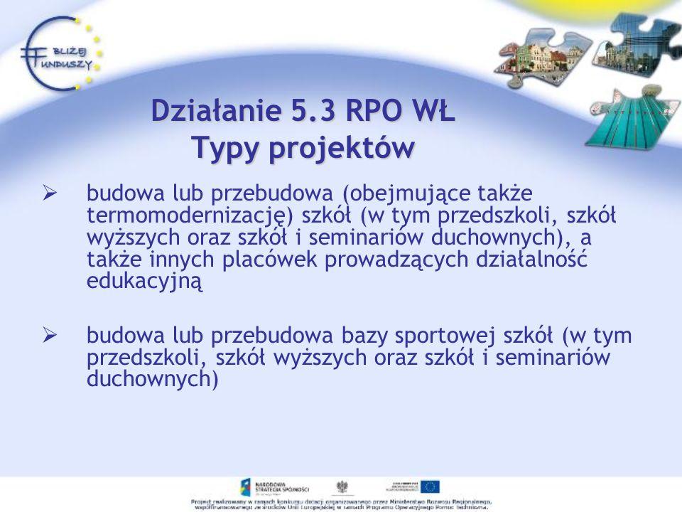 Działanie 5.3 RPO WŁ Typy projektów budowa lub przebudowa (obejmujące także termomodernizację) szkół (w tym przedszkoli, szkół wyższych oraz szkół i s