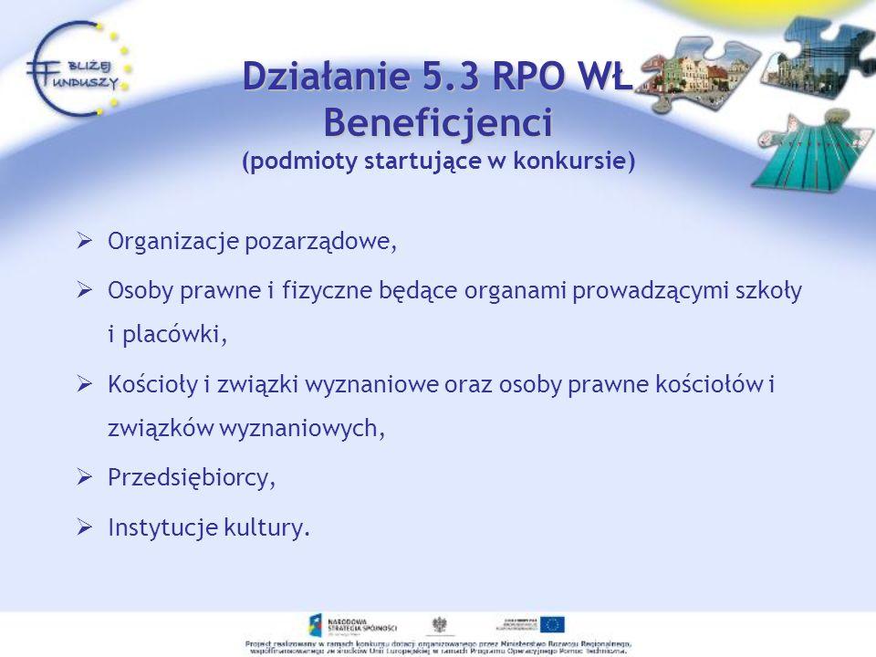 Działanie 5.3 RPO WŁ Beneficjenci Działanie 5.3 RPO WŁ Beneficjenci (podmioty startujące w konkursie) Organizacje pozarządowe, Osoby prawne i fizyczne