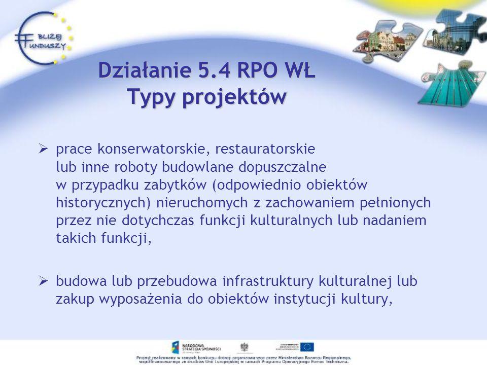Działanie 5.4 RPO WŁ Typy projektów prace konserwatorskie, restauratorskie lub inne roboty budowlane dopuszczalne w przypadku zabytków (odpowiednio ob
