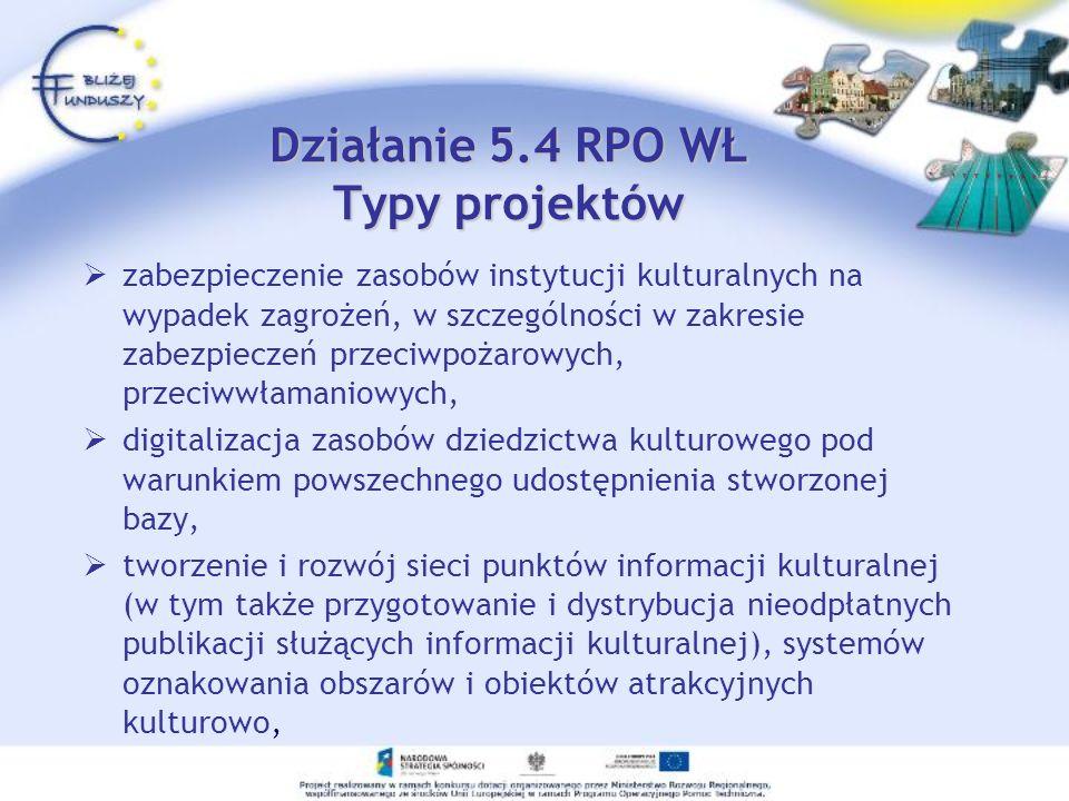 Działanie 5.4 RPO WŁ Typy projektów zabezpieczenie zasobów instytucji kulturalnych na wypadek zagrożeń, w szczególności w zakresie zabezpieczeń przeci