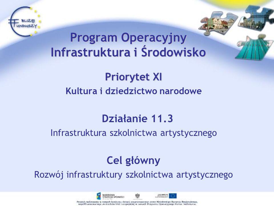 Priorytet XI Kultura i dziedzictwo narodowe Działanie 11.3 Infrastruktura szkolnictwa artystycznego Cel główny Rozwój infrastruktury szkolnictwa artys