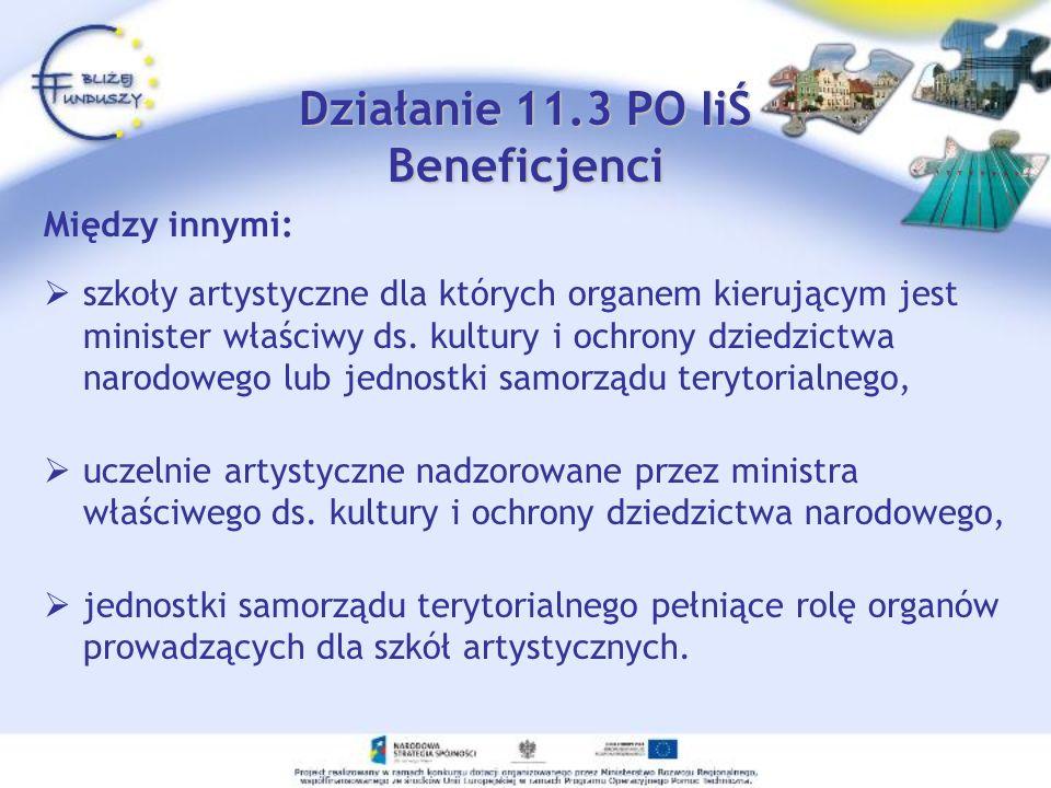 Działanie 11.3 PO IiŚ Beneficjenci Między innymi: szkoły artystyczne dla których organem kierującym jest minister właściwy ds. kultury i ochrony dzied