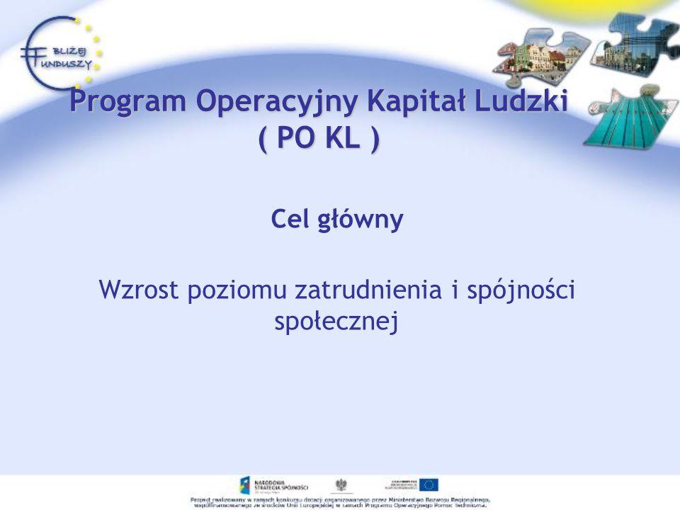 Program Operacyjny Kapitał Ludzki ( PO KL ) Cel główny Wzrost poziomu zatrudnienia i spójności społecznej