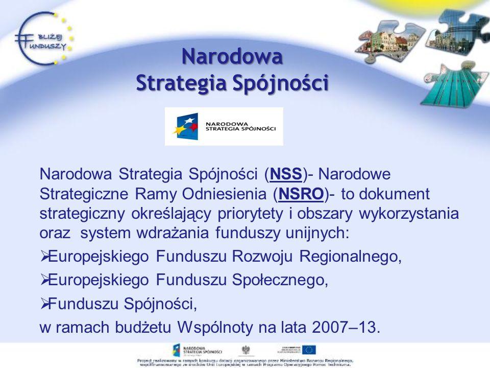 Narodowa Strategia Spójności Narodowa Strategia Spójności (NSS)- Narodowe Strategiczne Ramy Odniesienia (NSRO)- to dokument strategiczny określający p
