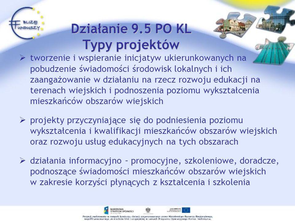 Działanie 9.5 PO KL Typy projektów tworzenie i wspieranie inicjatyw ukierunkowanych na pobudzenie świadomości środowisk lokalnych i ich zaangażowanie