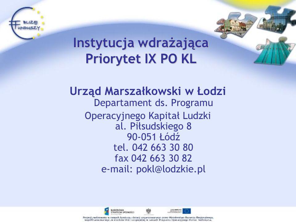 Instytucja wdrażająca Priorytet IX PO KL Urząd Marszałkowski w Łodzi Departament ds. Programu Operacyjnego Kapitał Ludzki al. Piłsudskiego 8 90-051 Łó